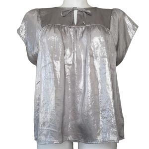 GAP   NWT Metallic Silver Baby Doll Blouse XL
